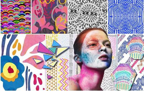 手绘插图,拼贴图案,粗犷而富有表现力的不规则手法.